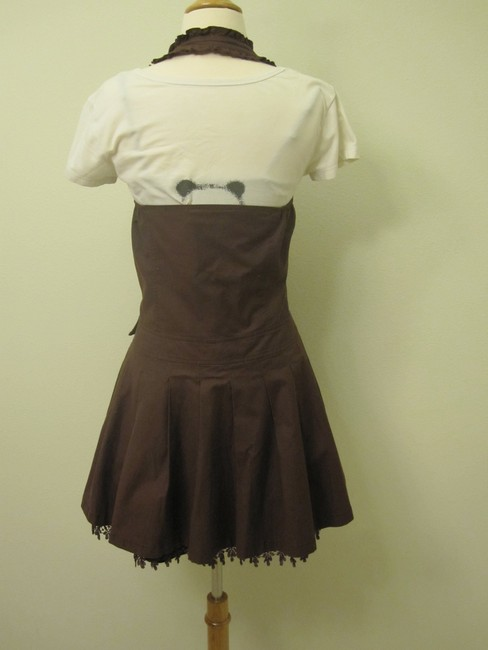 A.YiLian Vintage Lace Brown Polka Dot Cute Sleeveless Strap Belted Butterfly Knot A-line Dress