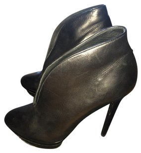 B Brian Atwood Stiletto Patent Leather Black Boots