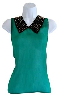 B'jewel Faux Leather Collar Studs Gold Sheer Top Green