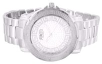 B. Moss Mens Greek Dial 14k White Gold Finish Watch Techno Bm Iced Presidential Watch