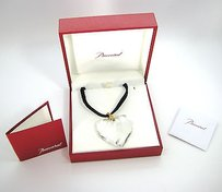 Baccarat Baccarat Coeur Clear Crystal Heart Pendant Black Cord Necklace