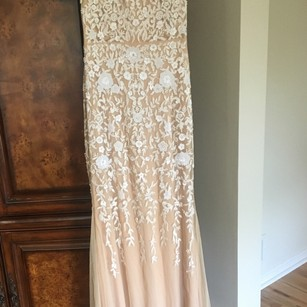 Badgley Mischka Creamy and White Beads Party Prime Sexy Bridesmaid/Mob Dress Size 8 (M)