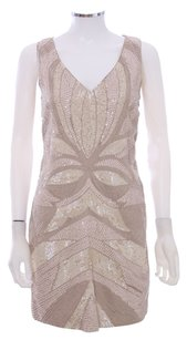 Badgley Mischka Embellished Beaded India Viscose V-neck Classic Beige Tan Shift Sleeveless Dress