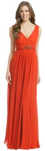 Red Maxi Dress by Badgley Mischka Barbuda Beach Orange Coral Long Chiffon Beaded Gown 0