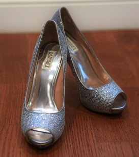 Badgley Mischka Sequin Silver Pumps