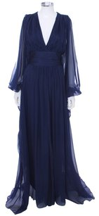Badgley Mischka Silk Couture Navy Designer 70's New Batwing Chifon Dress