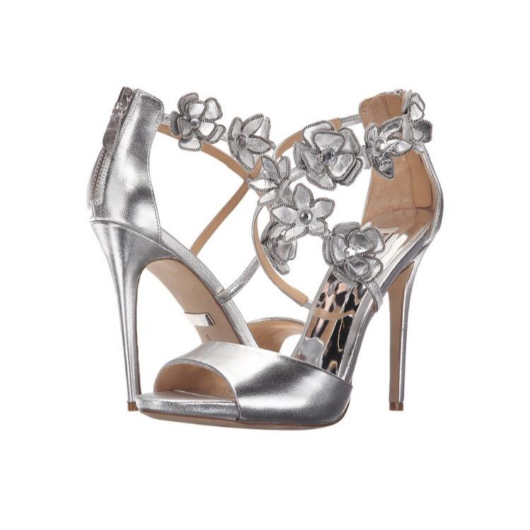 Badgley Mischka Langley Silver Pumps on Sale 65% f