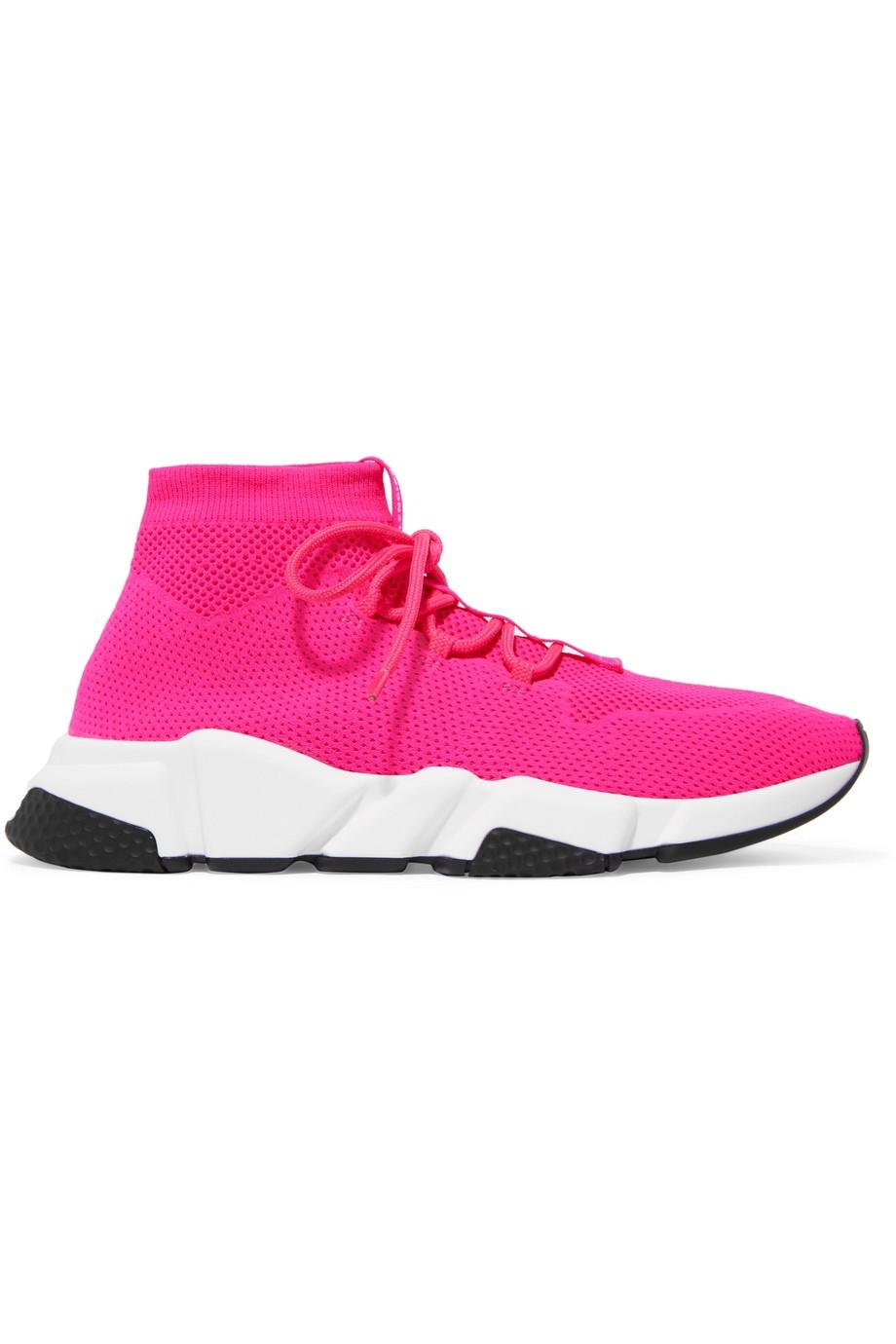 Balenciaga Pink Speed Logo-print Stretch-knit High-top Sneakers It36 Sneakers Size EU 36 (Approx. US 6) Regular (M, B)