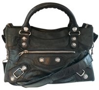 Balenciaga Studded Lambskin Leather Silver Hardware Tote in Dark Grey