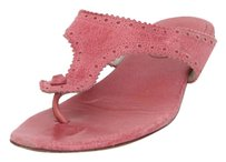 Balenciaga Arena Distressed Leather Studded Scallop Thong Flat 838 Pink Sandals