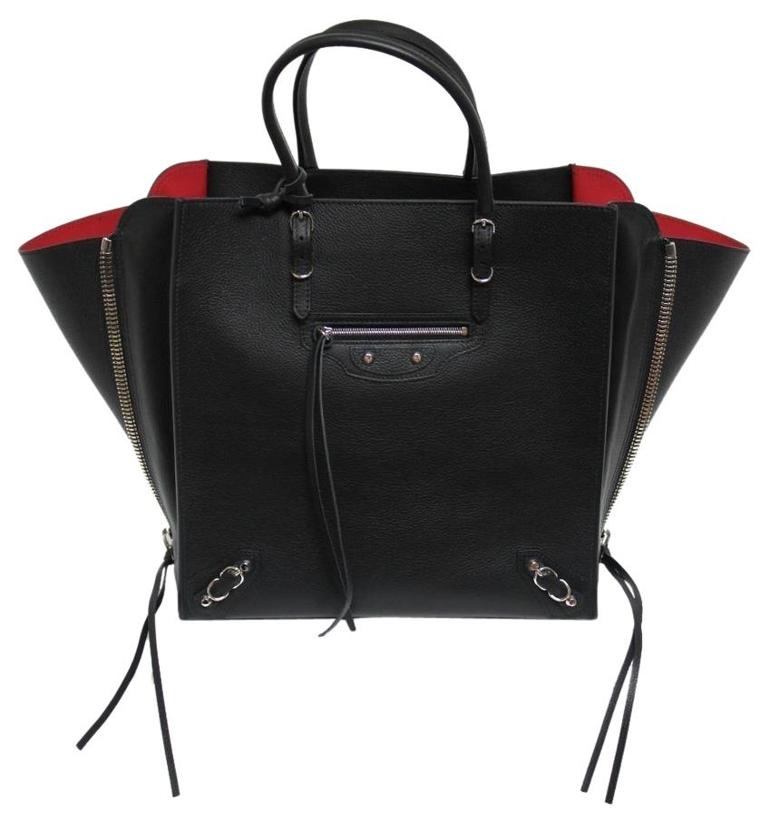 Balenciaga New Papier A5 Zip Houx Leather Black & Rouge Tote Bag ...