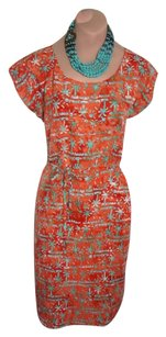 Bali short dress NEW RED / ORANGE + GREEN HANDPAINTED COTTON Charming Simple And Sweet Pockets Tie Belt on Tradesy