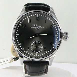 Ball Ball Nm3038d-lj-gy Trainmaster Officer Manual Wind Gray Dial Leather Watch