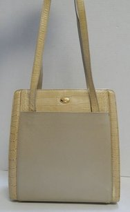 Bally Vintage Leather Alligator Vertical Italy Tote in Beige