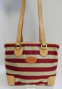 Bally Italy Beige Deep Red Striped Canvas Leather Tote in Multi-Color