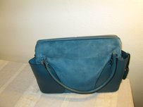 Bally Leather Monogram Suede Satchel in Teil Blue