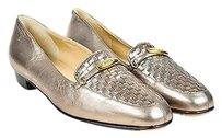 Bally Metallic Leather Silver Flats