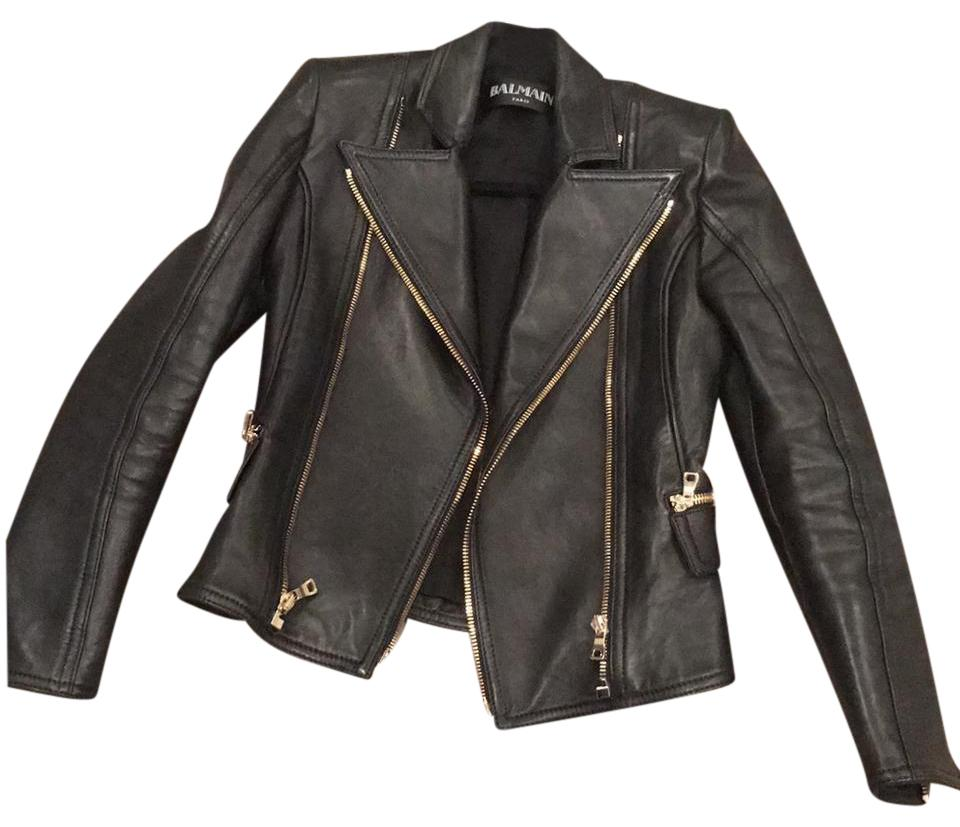 Balmain Leather Womans Moto Jacket