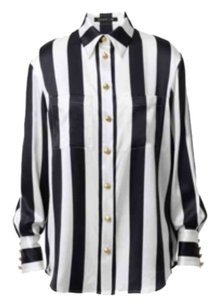 Balmain x H&M Dress Button Down Shirt Black and White Stripes