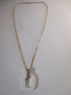 Banana Republic Banan Republic Pave Rhinestones White Resin Knot Pendant Necklace