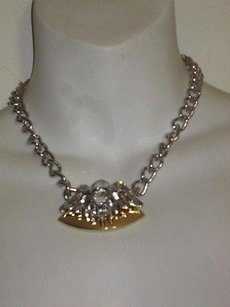 Banana Republic Banana Republic Crystal Gold Triangle Bar Statement Necklace
