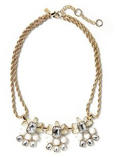 Banana Republic Banana Republic Fan Petite Floral Necklace Crystal Rope Necklace Taupe
