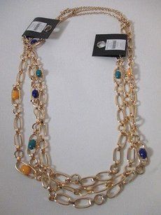 Banana Republic Banana Republic Gold Cabochon Crystal Layering Necklace Y B T Set Of