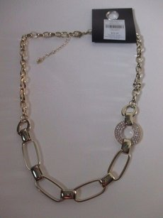 Banana Republic Banana Republic Gold Link Pave Crystal Ring Necklace