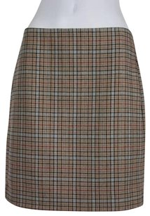 Banana Republic Womens Red Plaid Above Knee Pencil Straight Skirt Beige
