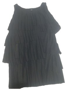 Banana Republic Ruffles Pleated Layers Tiered Dressy Top Black