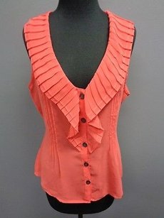 Banana Republic Coral Poly Sleeveless Sheer Button Front Sma3253 Top Pink