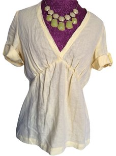 Banana Republic V-neck Linen Top Sunny Yellow