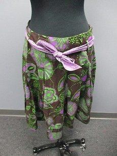 Bandolino Brown Green Purple Skirt Multi-Color