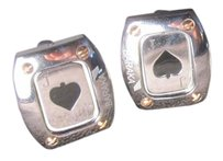 BARAKA BARAKA MENS PLAYING CARDS JACK OF HEARTS 18K GOLD CUFF LINKS ITALY