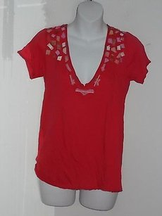 Barneys New York Loomstate Blank Red Embellished V Neck 588750 T Shirt Reds