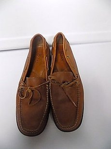 Bass Tie Front Leather Solid Block Heel Casual Loafers B3353 Tan Flats
