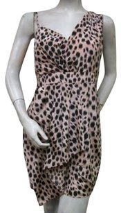 BCBGeneration Animal Print Duo Peach Black Rlh6p721 Dress