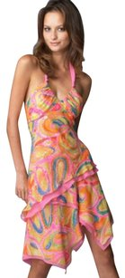 BCBGMAXAZRIA Asymmetric Paisley Sweetheart Embellished Print Dress