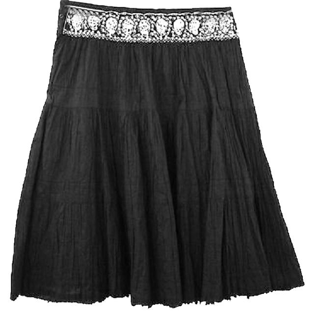 BCBGMAXAZRIA Crinkle Embellished Cotton Skirt BLACK