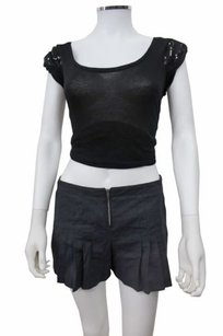 BCBGMAXAZRIA Bcbg Maxazria Navy Pleat Mini/Short Shorts Black
