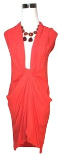 BCBGMAXAZRIA Runway Cut Out Low Cut Draping 0 Dress