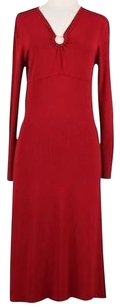 BCBGMAXAZRIA Womens Solid Long Sleeve Rayon Blend Sheath Dress