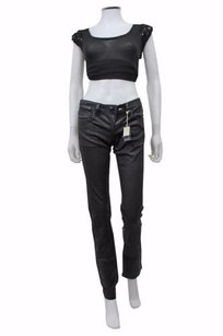 BCBGMAXAZRIA May Skinny Icy Night Wax Coated Black Skinny Jeans