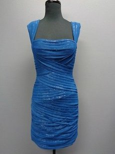 BCBGMAXAZRIA Blue Pleated Sheer Thick Strap Sma3454 Dress