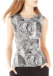 BCBGMAXAZRIA Bcbg Max Azria Kimie Black White Stretch Peplum Floral Cityscape Graphic Top Multi-Color