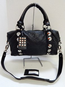 Be&D Be D Leather Studded Satchel in Black