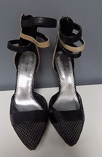 bebe Textured Pointed Toe High Heels Leather B3468 Black White And Beige Pumps