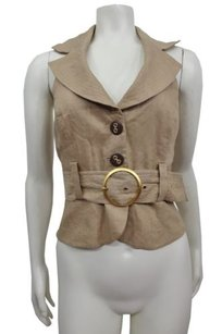 bebe Backless Belted Vest Tan Halter Top