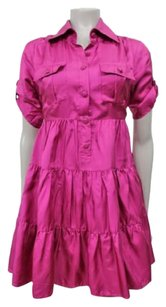 bebe short dress Magenta Silk Ruffle Tiered Shirt Roll Short Sleeve on Tradesy