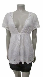 bebe Deep Embroidered Trim Empire Waist Top White